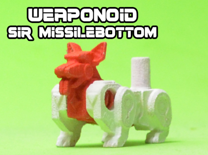 Sir Missilebottom (Corgi) Transforming Weaponoid 3d printed White strong and flexible print, hand painted.