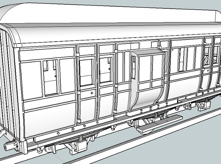 Great Northern Railway of Ireland W1 Van Chassis 3d printed Render shows van including body -this file is the chassis only.