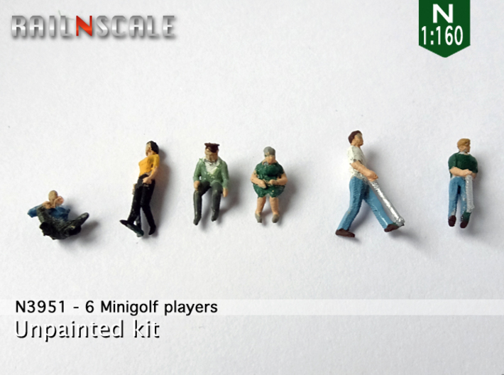 6 Minigolf players (N 1:160) 3d printed