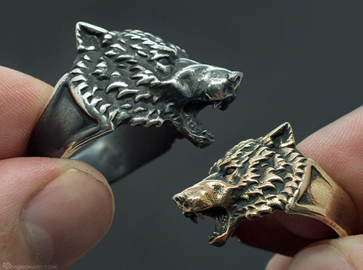 Wolf Head Ring 3d printed Blackened silver and brass. You'll get the ring without blackening, but you can do it yourself
