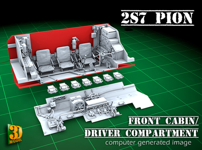 2S7 PION interior set 2 3d printed 2S7 PION/MALKA front cabin/driver compartment