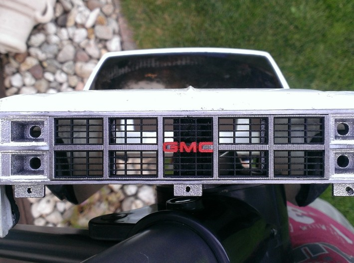 1982 GMC Grille For Tamiya Clodbuster (3/4) 3d printed Complete grille (allfour parts) painted and installed on Tamiya Clodbuster body