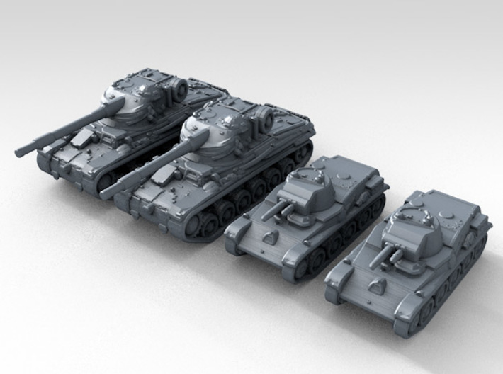 1/285 Swedish 42-57 Alt A.2 + L60 Tank Set X2 3d printed Render showing product detail