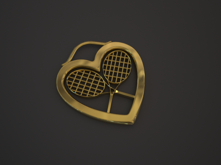 Heart And Tennis Rackets 3d printed Gold pendant, heart and rackets