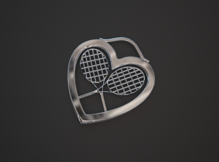 Heart And Tennis Rackets 3d printed Silver pendant, heart and rackets