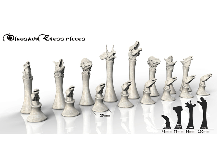 Dinosaurs Chess 3d printed