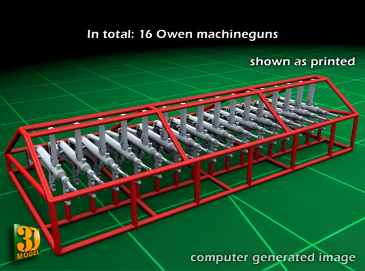 Owengun (1:32) 3d printed Owen submachine gun - 1/32 - printed with protective cage