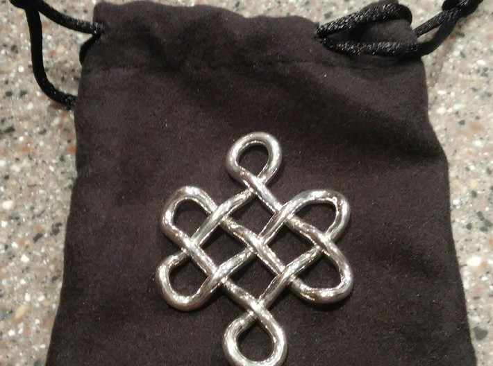 Buddhist Endless Knot 3d printed Polished Silver