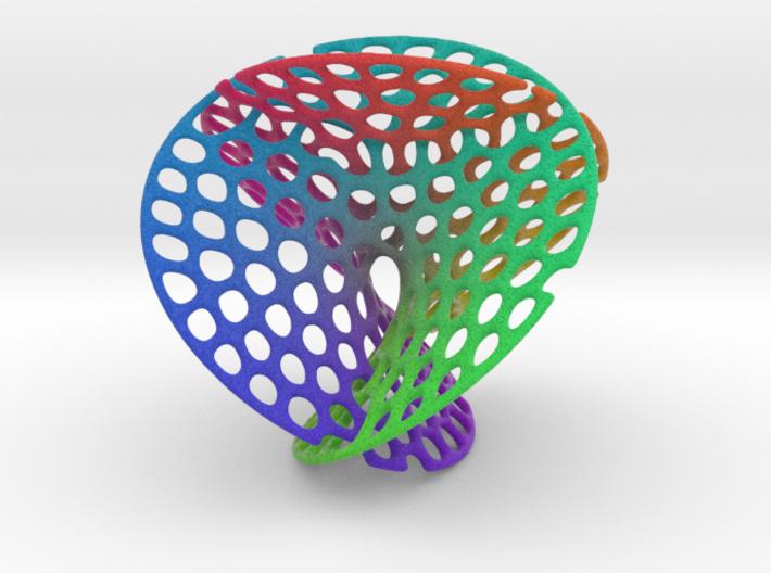 Color Enneper surface irregular holes weave 3d printed