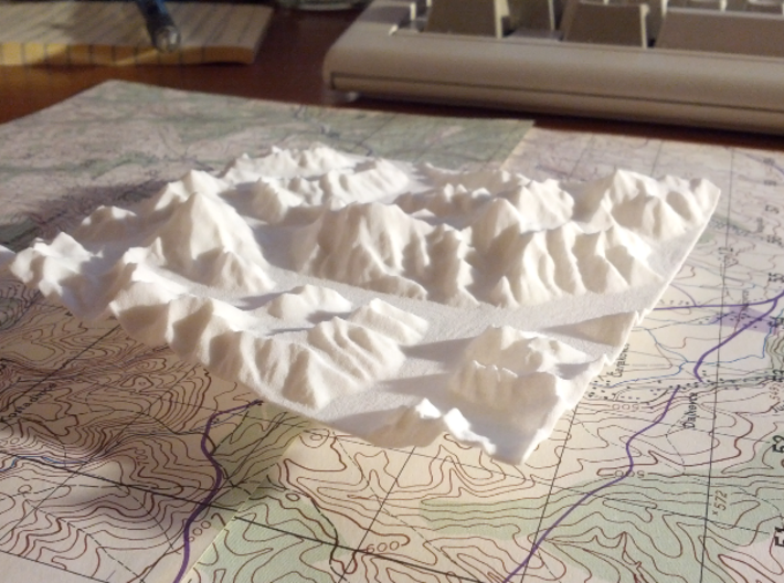 4''/10cm Baltoro Glacier and K2, WSF 3d printed Photo of actual print of this model, looking East up the Baltoro Glacier, with sun from the South