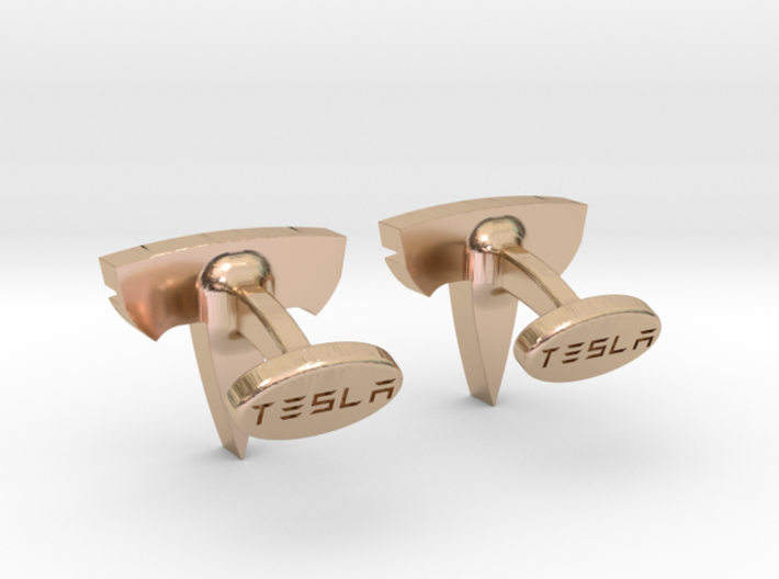 Tesla Logo cufflinks 3d printed Tesla Cufflinks button logo
