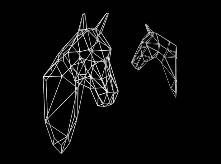 Horse Wireframe Head 3d printed White strong plastic