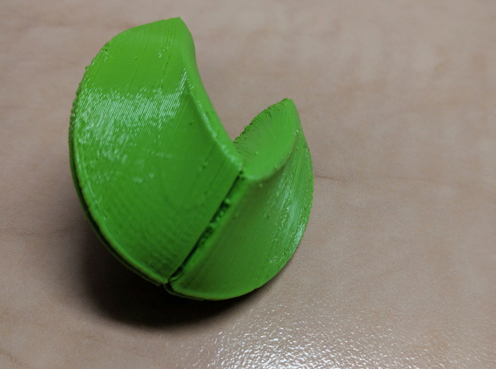 3D snap-fit Fortune Cookie 3d printed the closed fortune cookie