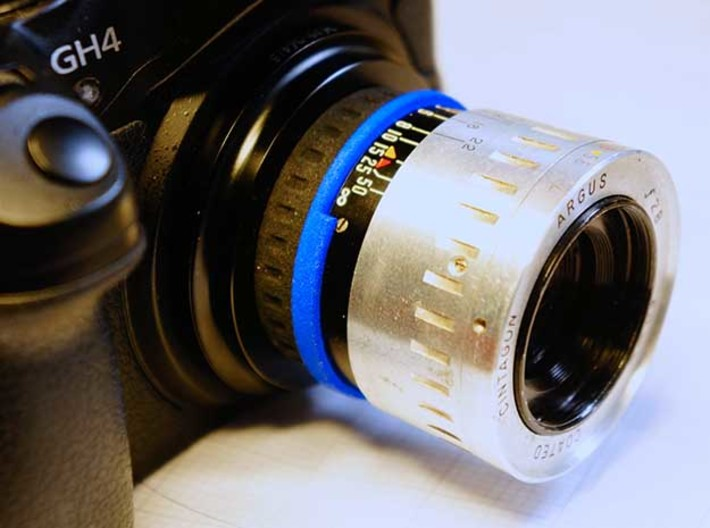 """Argus """"The Brick"""" lens adapter to Leica L39 3d printed (mounted to M43 via a L39 adapter)"""