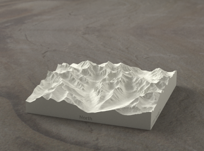 4''/10cm High Tatras, Poland/Slovakia, Sandstone 3d printed Radiance rendering of model, viewed from Poland, looking SSW