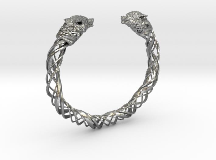 Viking wolf head bracelet size L 3d printed