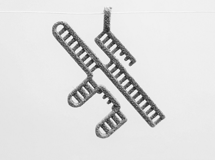CRISPR RNA Pendant with Bail 3d printed Metallic Plastic