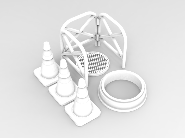 Manhole with fence 01. 1:64 scale  3d printed Manhole with fence in 1:64 scale