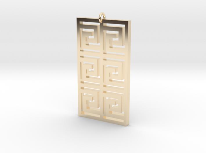 Maze Square Pendant 3d printed