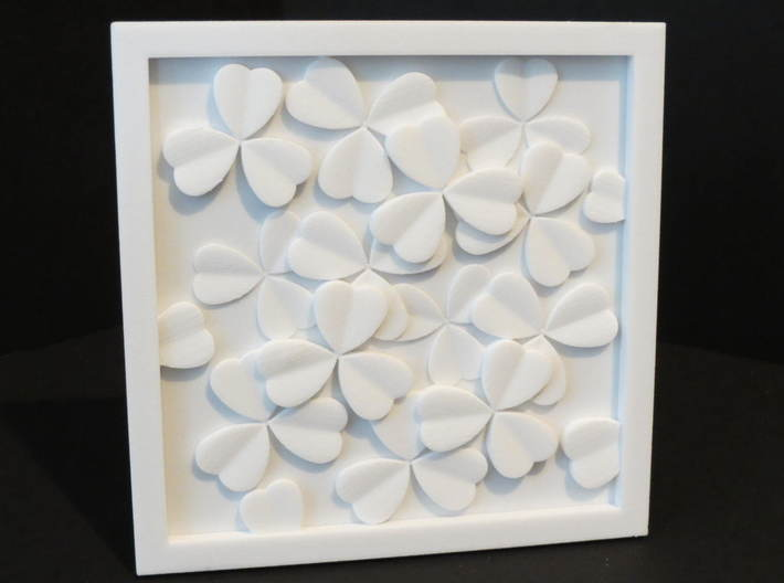 Clover Leaf wall sculpture 3d printed A decorative representation of cloverleaf in white strong and flexible plastic