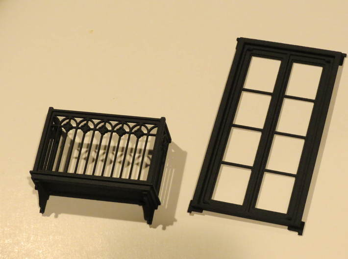 Juliet Balcony with Door 3d printed Juliet Balcony with door shown spearated.