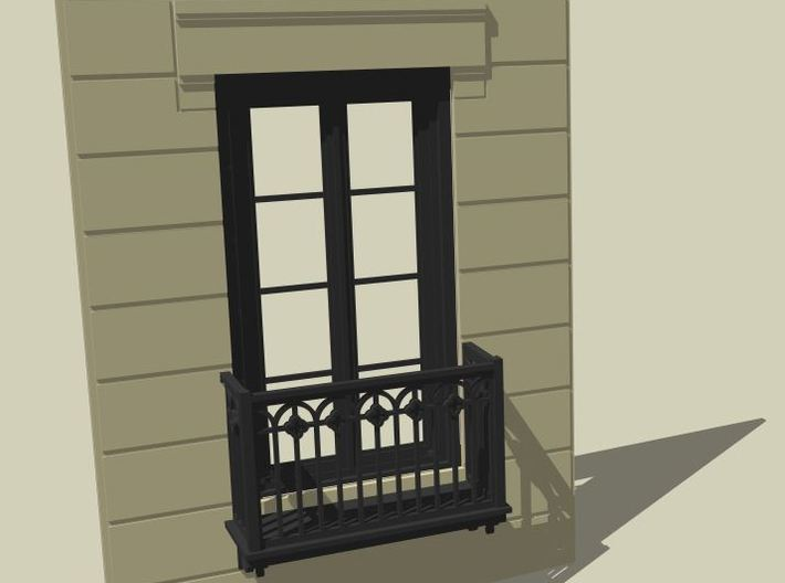 Architectural wall for Juliet balcony 3d printed Architectural Wall 3d model rendering in Sketchup