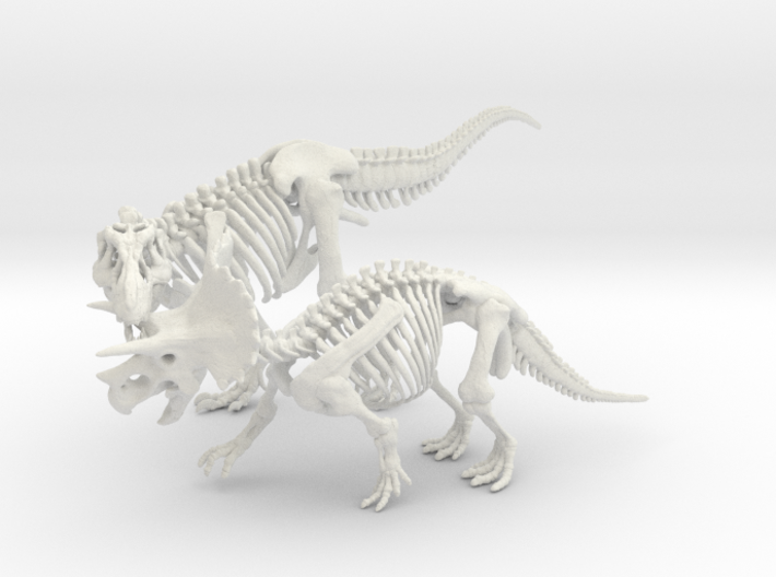 Tyrannosaurus vs Triceratops Skeleton 3d printed