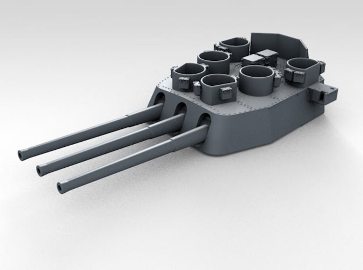 "1/200 16""/45 MKI HMS Nelson Turrets Only 1945 3d printed 3d render showing X Turret detail (Barrels NOT included)3d render showing X Turret detail"