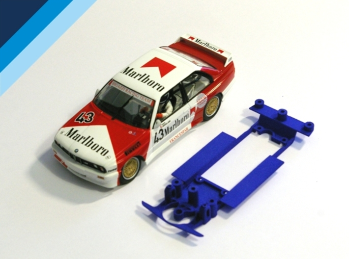 1/32 Chassis for Fly BMW M3 or Ninco Ford Sierra 3d printed Chassis compatible with Fly BMW M3 E30 body (not included)