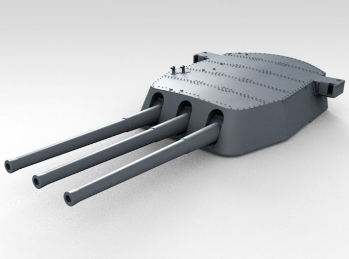 """1/600 16""""/45 MKI HMS Nelson Turrets 1940 3d printed 3d render showing A Turret detail"""