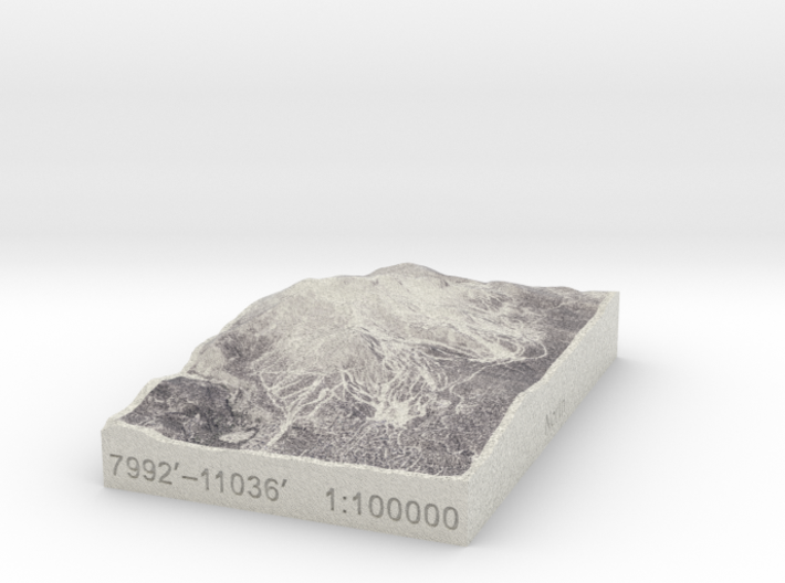 Mammoth Mtn. in Winter, California, 1:100000 3d printed