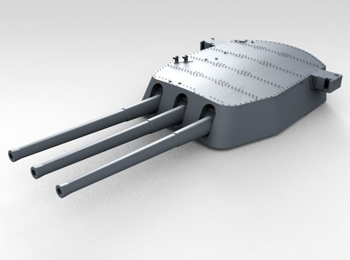 """1/600 16""""/45 MKI HMS Nelson Turrets 1943 3d printed 3d render showing A Turret detail"""