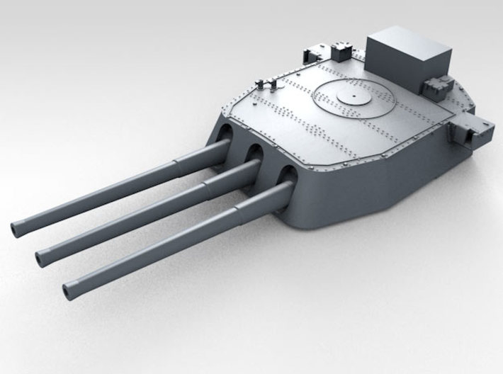 """1/600 16""""/45 MKI HMS Nelson Turrets 1943 3d printed 3d render showing B Turret detail"""