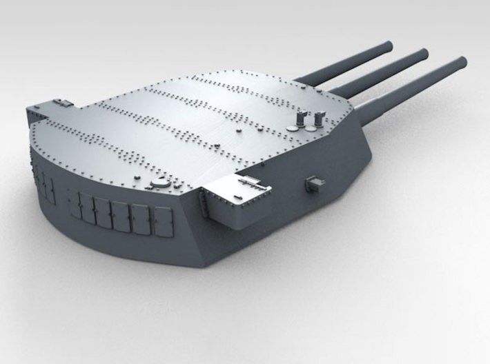 """1/700 16""""/45 MKI HMS Nelson Turrets 1943 3d printed 3d render showing A Turret detail"""