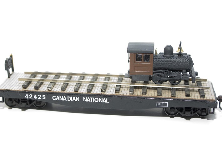 """HO Scale - 40.5"""" Gauge Compressed Air Porter 0-4-0 3d printed On an HO Scale 40' Flatcar for a sense of scale."""