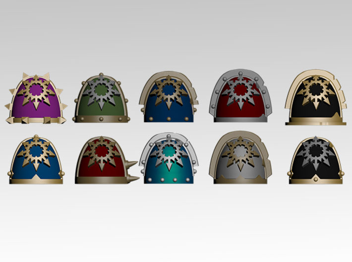 Chaos Star Spiked Shoulder Pads x10 3d printed Product is sold unpainted.