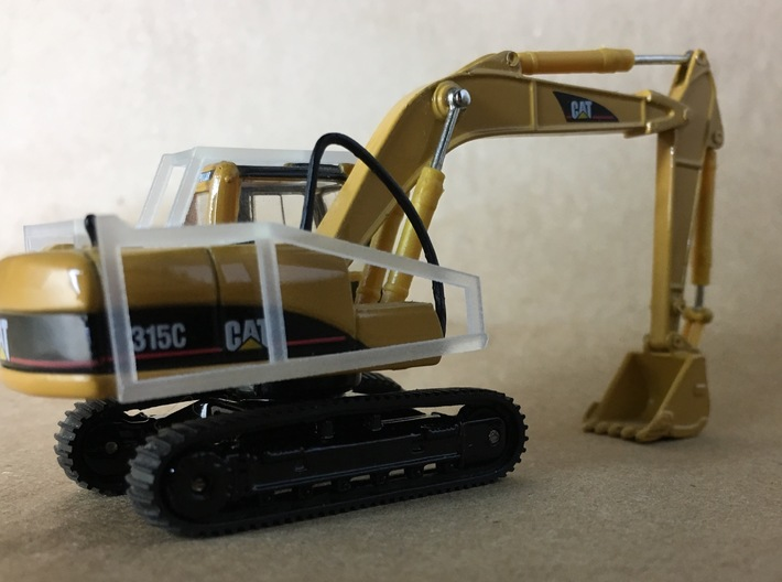 1:87 Cat 315C Forestry Guarding Package 3d printed Guarding on a 1/87 Cat 315C (Excavator not included)