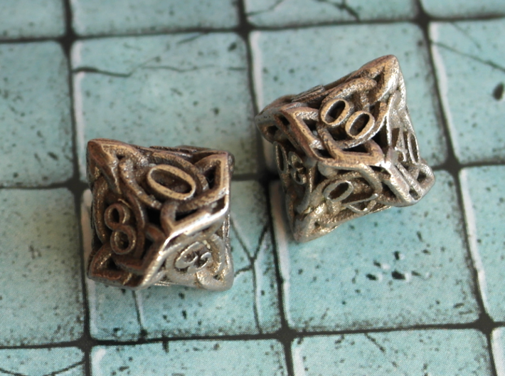 Celtic Percentile D10, D100 Two Dice Set 3d printed Printed in Stainless Steel