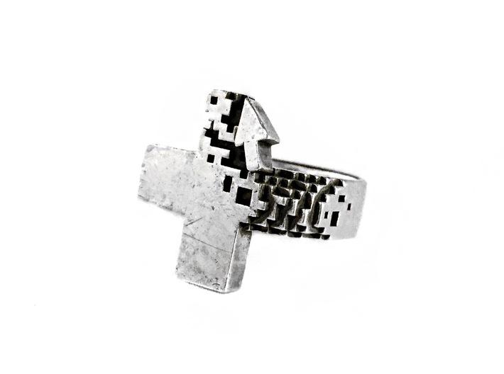 Pixel Plus Ring 3d printed For blackened post-finish, order on LucasPlus.com