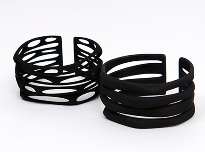 Rocker Coil Bracelet Perforated  3d printed Bracelet on left is the one for sale here.