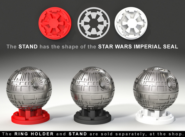 Death Star Ring Box - Proposal/Engagement Ring Box 3d printed Ring Holder and Stand, sold separately at the Shop.