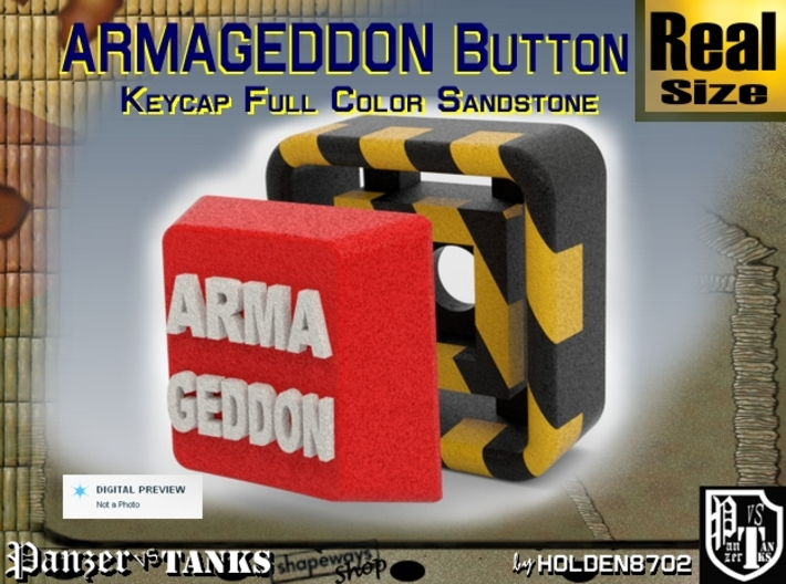 Full Color Button of ARMAGEDDON 3d printed