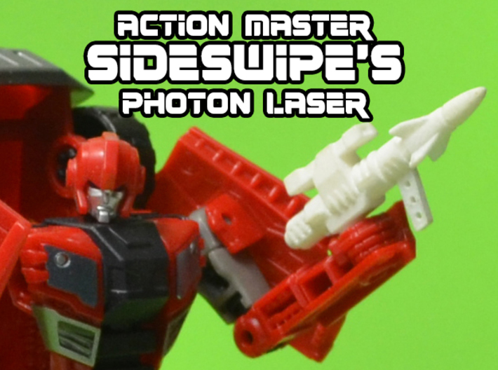 5mm Sideswipe Photon Laser (Action Master Weapon) 3d printed print in white strong and flexible
