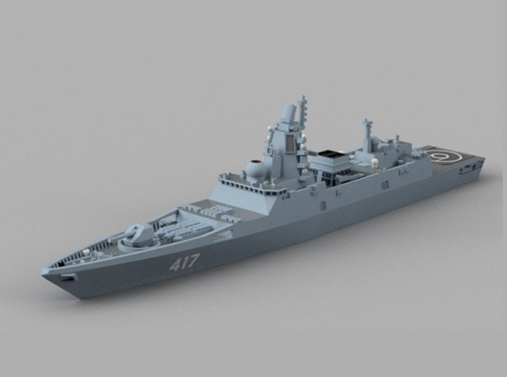 1/1800 RFS Admiral Gorshkov-class frigate 3d printed Computer software render.The actual model is not full color.