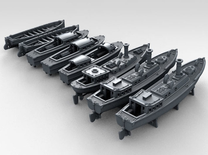 1/600 WW2 RN Boat Set 4 with Mounts 3d printed 3d render showing product detail