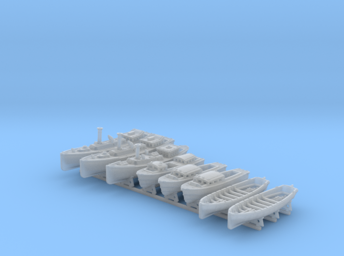 1/400 WW2 RN Boat Set 4 with Mounts 3d printed 1/400 WW2 RN Boat Set 4 with Mounts