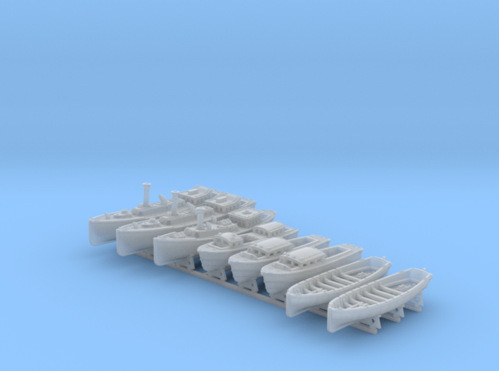 1/350 WW2 RN Boat Set 4 with Mounts 3d printed 1/350 WW2 RN Boat Set 4 with Mounts