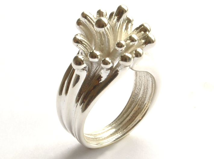 Water and Fire Ring  3d printed Water Drops Silver Ring