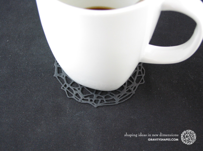 Drink coaster - Voronoi #9 (8 cm, thin) 3d printed Drink coaster - Voronoi #9 (8 cm, thin, black)