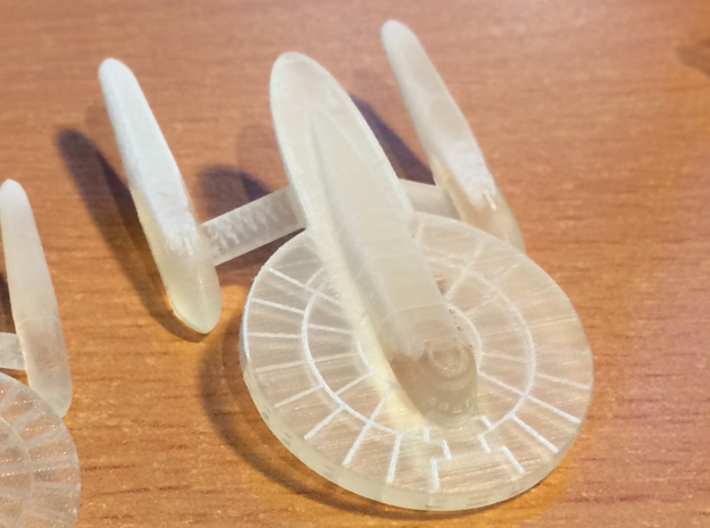 1/2500 Aspen Class Federation Frigate 3d printed Front 3/4 View, FUD before cleaning.